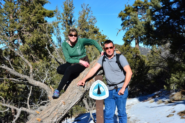 Shannon Wolf Montague and Stephen Montague hiking to the Pacific Crest Trail in the Easter Sierras