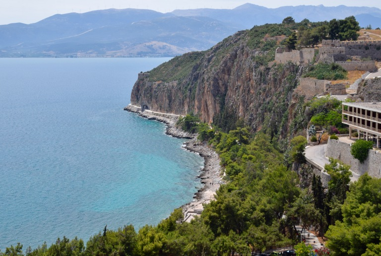 View of Nafplio and Mediterranean Ocean