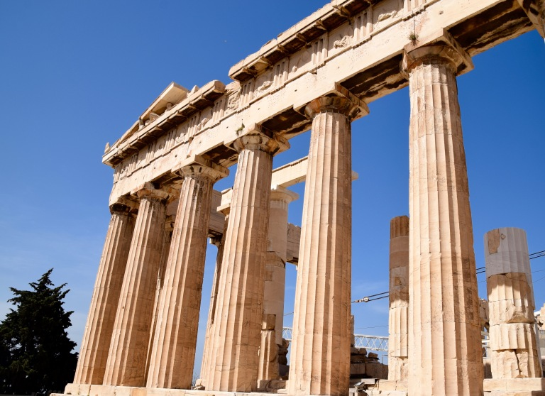 The Parthenon in the Acropolis in Athens Greece.